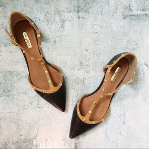 HALOGEN • Studded Point Toe T-Strap D'Orsay Flats